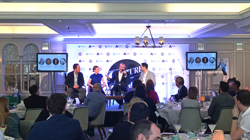 panelists on stage at the Culture and Commerce Luncheon hosted by Bing Ads and the Ad Association for Advertising Week Europe