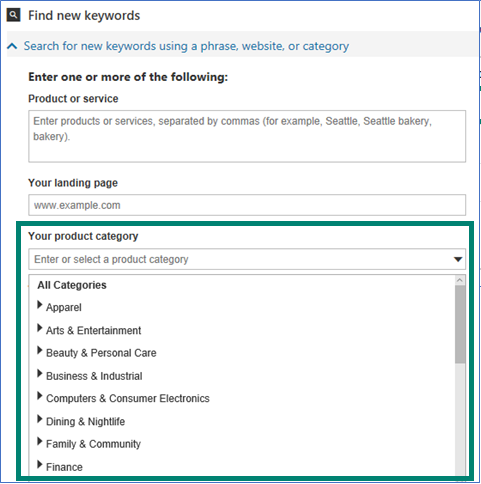 Bing Ads Keyword planner