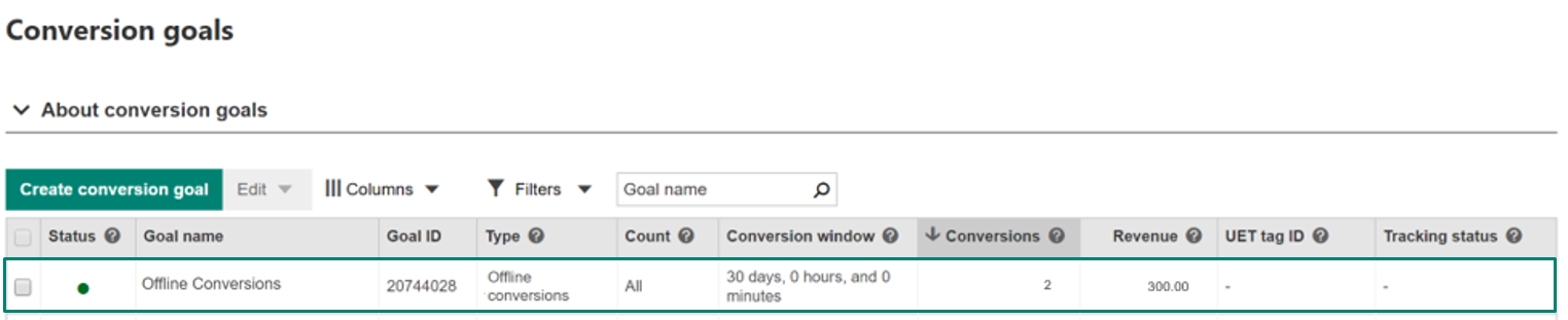 View conversion data in Conversions goals page