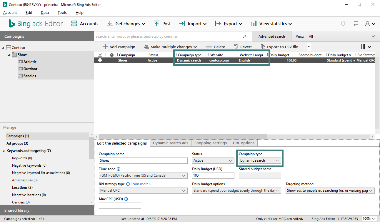 Dynamic Search Ads campaign type in Bing Ads Editor screenshot