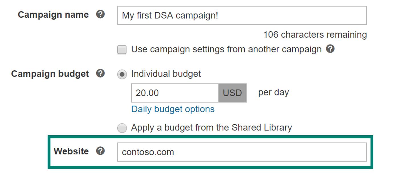 DSA campaign setup example