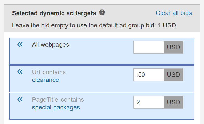 select dynamic ad targets and budget for each screenshot