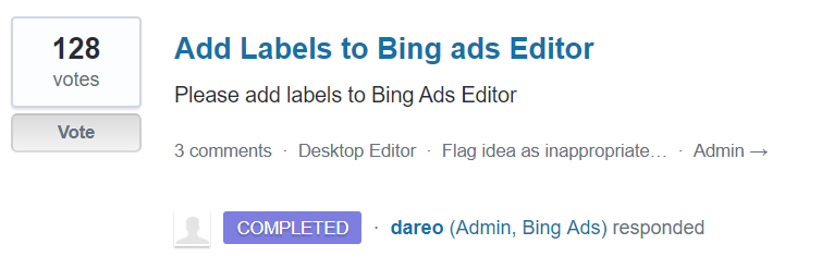labels to bing ads editor suggestion screenshot