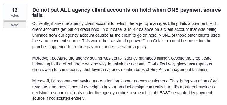 not putting all agency clients on hold when one payment fails screenshot