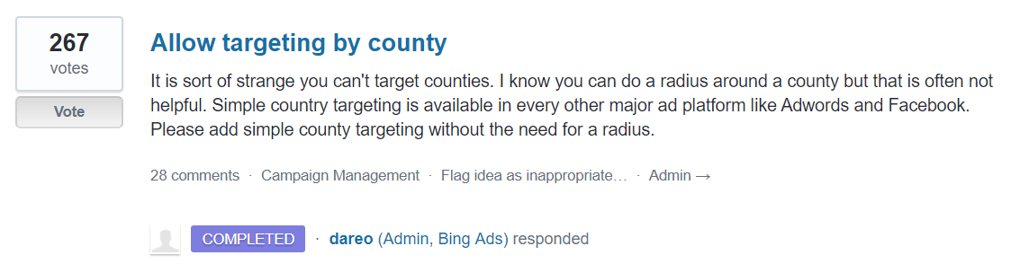 county targeting suggestion screenshot