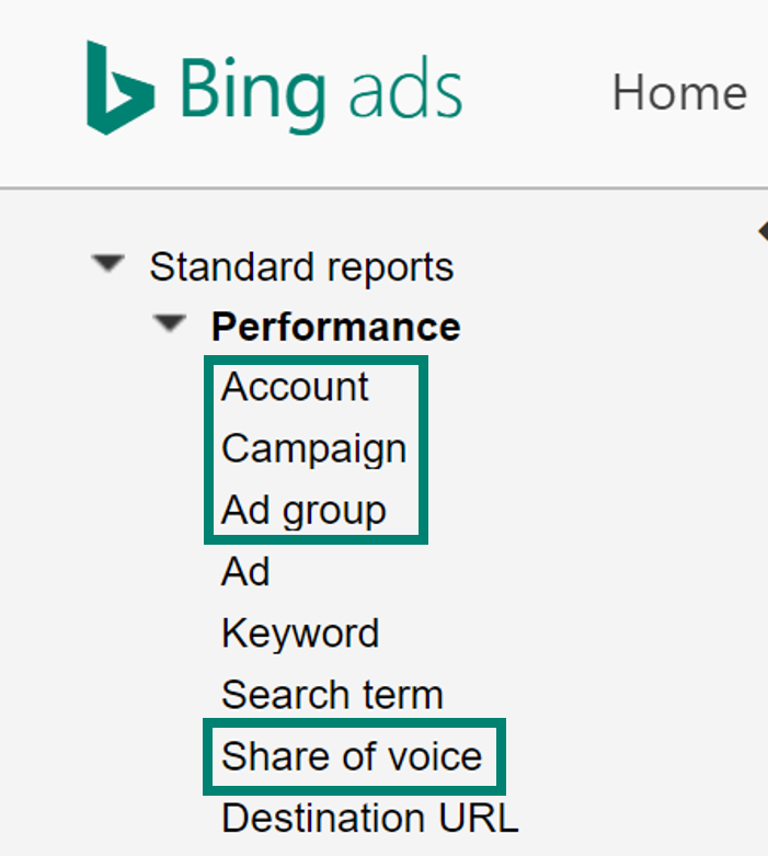 ad group and share of voice screenshot