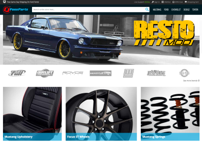 Screenshot of CJ Pony Parts website.