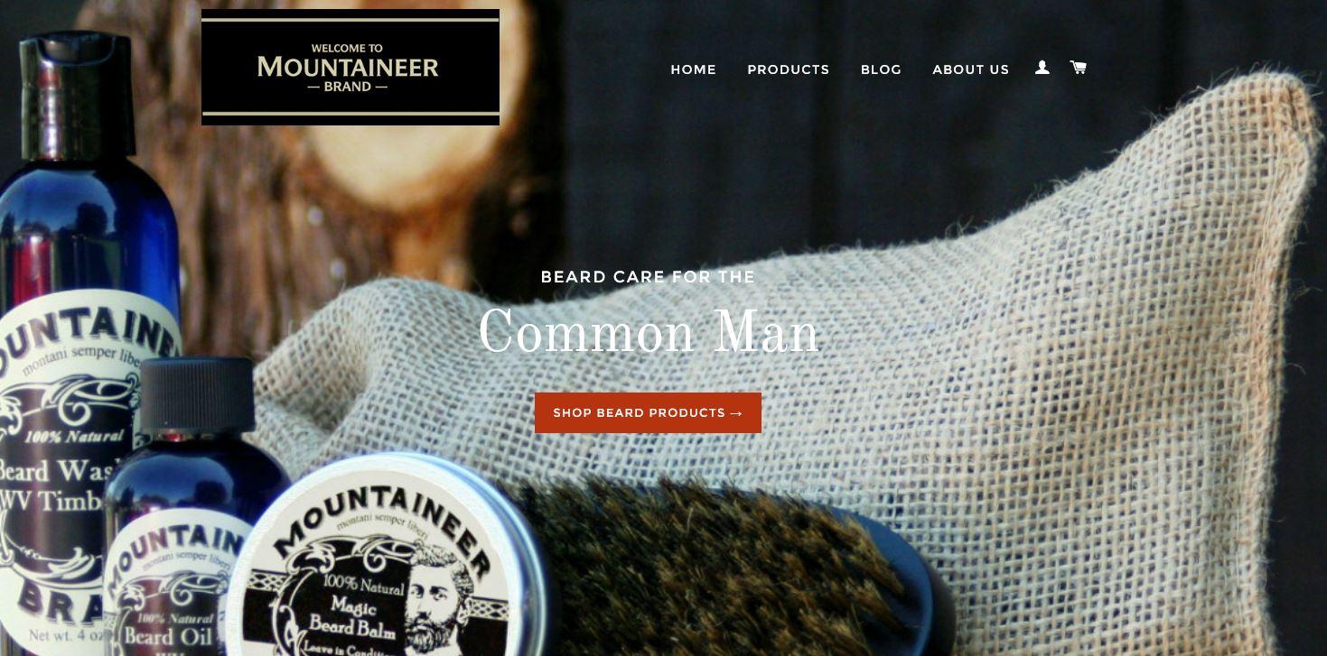 Screenshot of Mountaineer Brand website.