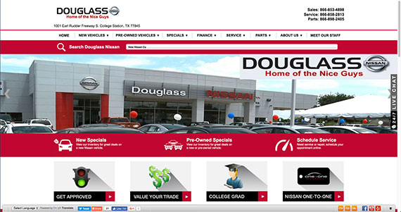 Screenshot of Douglass Nissan website.