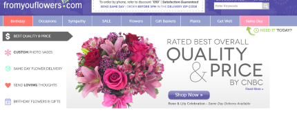 Screenshot of fromyouflowers.com website.