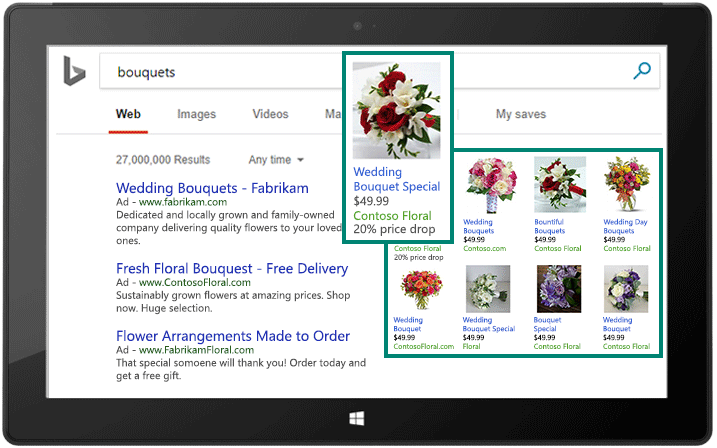 Screenshot showing example of Bing Shopping Campaign in Bing search results