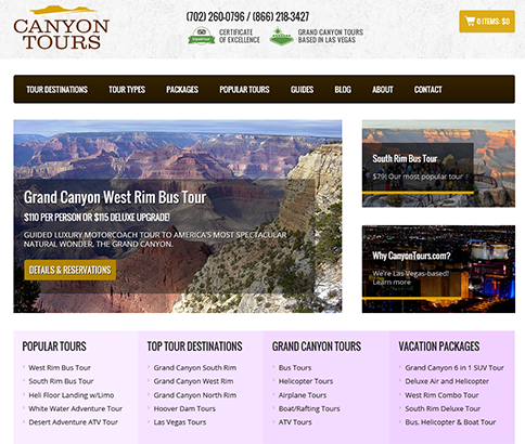 Screenshot of Canyontours.com website.