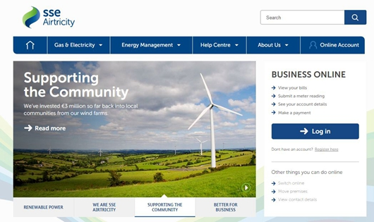 Screenshot of SSE Airtricity website