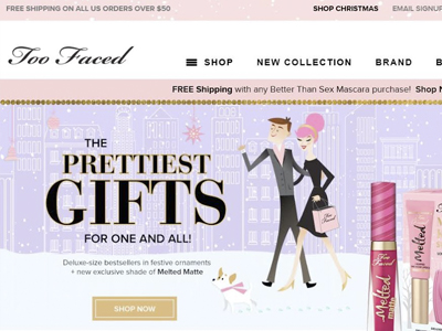 Screenshot of Too Faced website