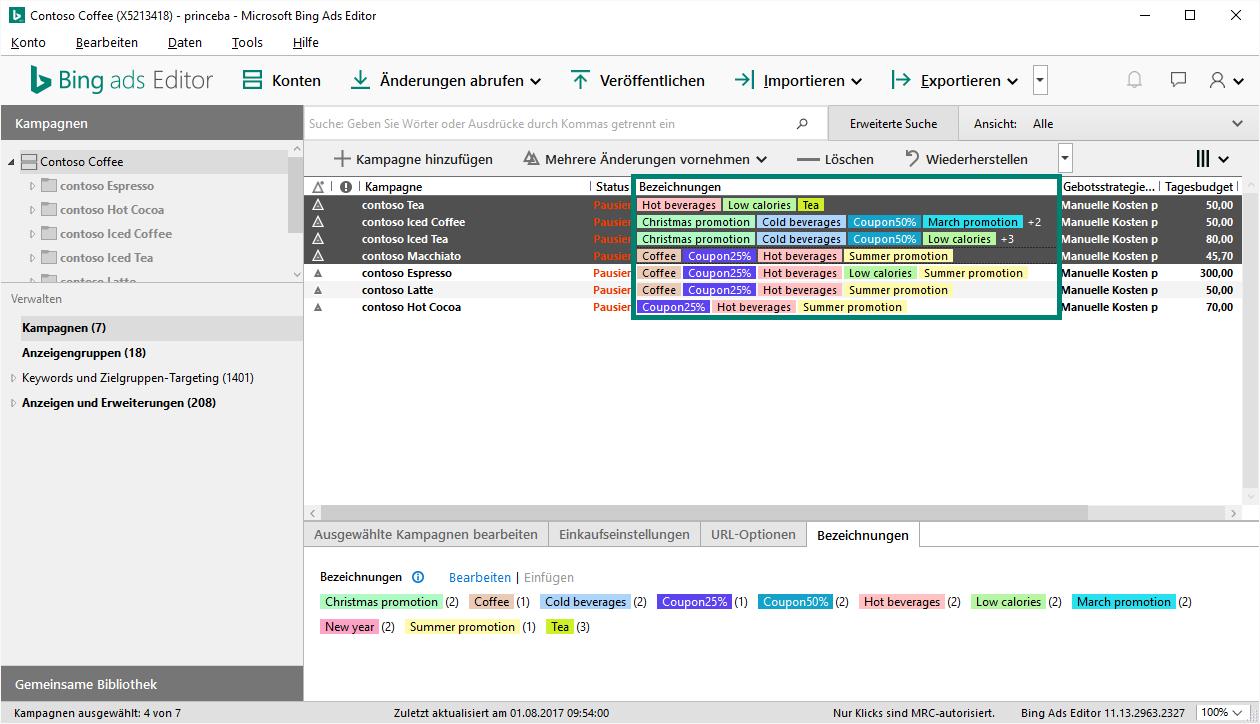 Massenverarbeitung von Bezeichnungen mit dem leistungsstarken Bing Ads Editor