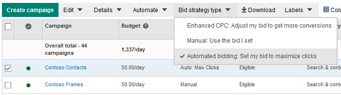 automated bidding option preview