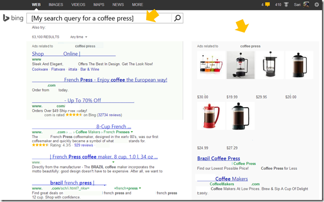 Product Ads_Coffee Press Query in Bing