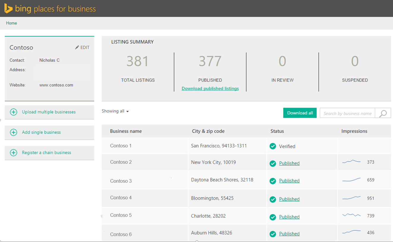 bing places for business agency dashboard
