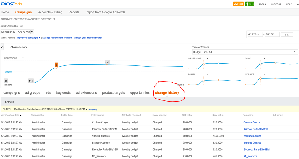 coming soon to bing ads change history graph connects your actions