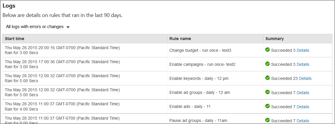 bing ads automated rules