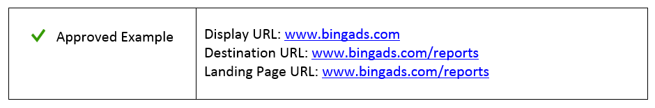 bing ads display url