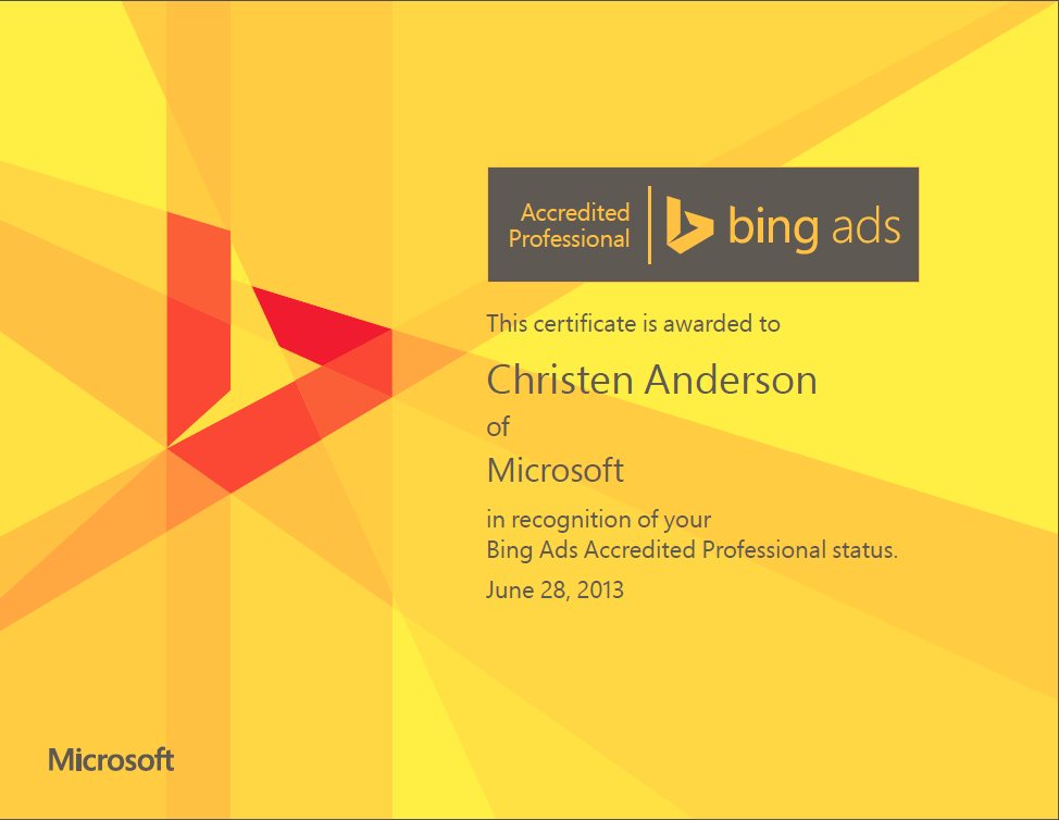 Bing Ads Accredited Professional Program Has New Certificates And