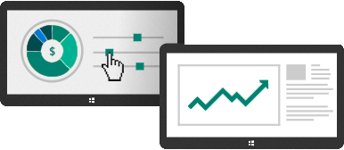 Illustration of monitors displaying a pie chart and data graph.