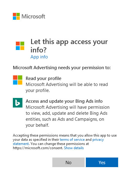 Screenshot of a message that appears when logging into the Partner website for the first time. It asks for permission to access your Microsoft Advertising account.