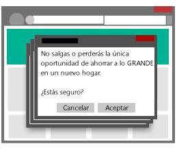 Ilustración que muestra varias ventanas emergentes que impiden que un usuario abandone un sitio.