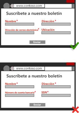 Ilustración de una captura de pantalla de una página de registro que no requiere la introducción de datos personales innecesarios. / Ilustración de una captura de pantalla de una página de registro que requiere la introducción de datos personales innecesarios del usuario.