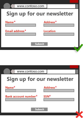 Illustration of landing page requesting appropriate user information for a newsletter sign up, such as name, address and email address/Illustration of a landing page requesting unnecessary personal data for a newsletter sign up, such as bank account and social security numbers.