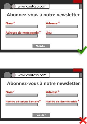 Illustration d'une capture d'écran représentant une page de connexion qui ne demande pas à l'internaute de fournir des informations personnelles superflues. Illustration d'une capture d'écran représentant une page de connexion qui demande à l'internaute de fournir des informations personnelles superflues.