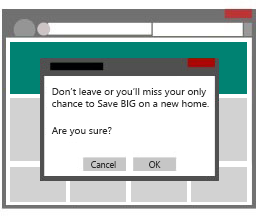 Illustration of a pop-up window that appears when a user tries to close a web page.