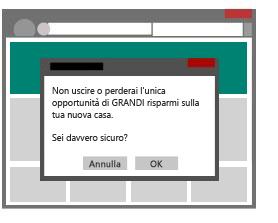 """Illustrazione di finestra popup che compare quando un utente prova a chiudere una pagina Web attivando invece una """"finta"""" chiusura."""