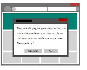 """Ilustração da janela pop-up que aparece quando o usuário tenta fechar uma página da Web, causando um comportamento de fechamento """"falso""""."""