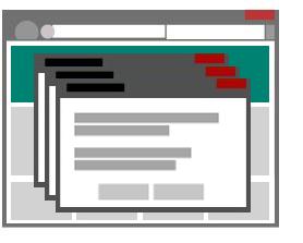Illustration d'une page de destination qui génère plusieurs fenêtres contextuelles.