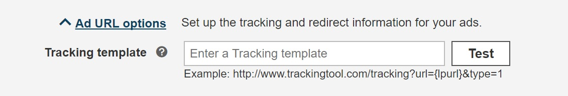URL tracking template exxample