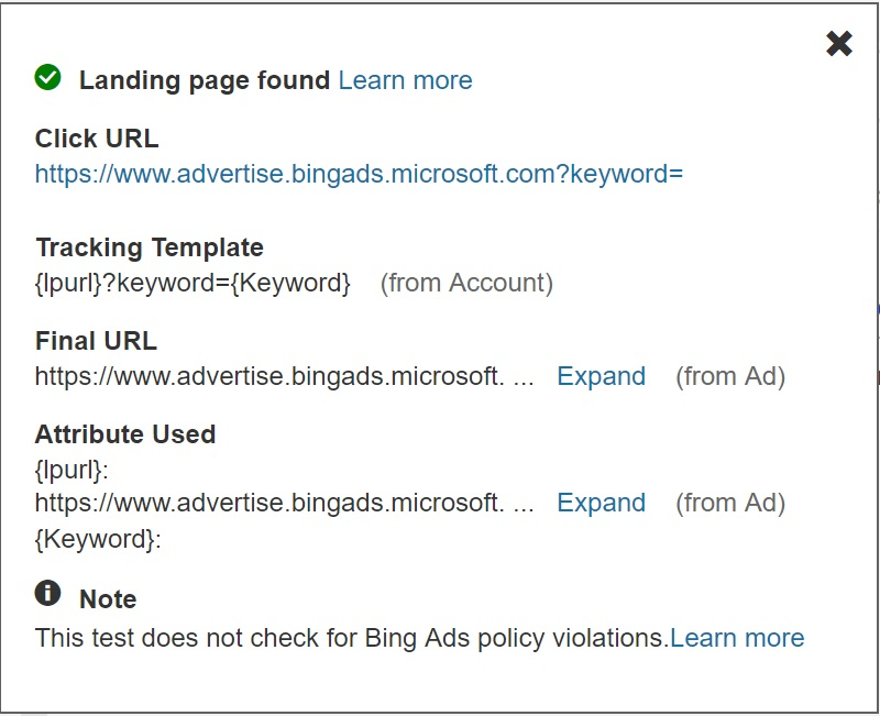 landing page URL examples