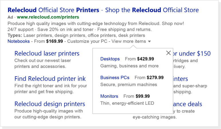 Example screenshot showing Price Extensions on a printer retailer