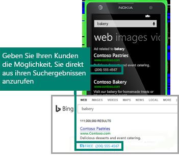 Screenshots mit in Suchmaschinenanzeigen auf Mobilgeräten und Destop-Geräten erscheinenden Anruferweiterungen