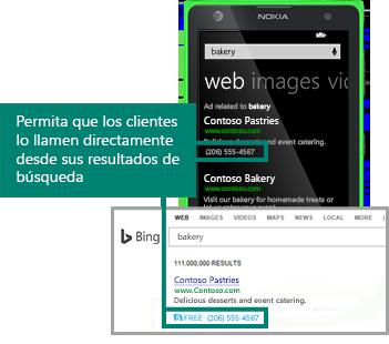 Ilustración que muestra Extensión de llamada en un anuncio que se muestra en los resultados de búsqueda.