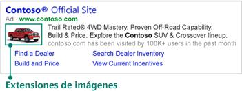 Extensión de imagen mostrada a la izquierda del anuncio en buscadores.