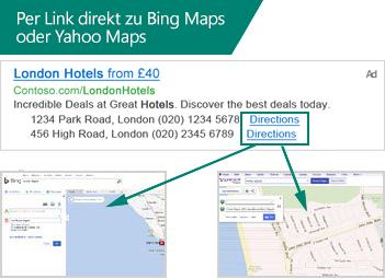 Darstellung von Standorterweiterungen in einer Suchanzeige und deren direkte Verknüpfung zu Bing Karten oder Yahoo Maps.