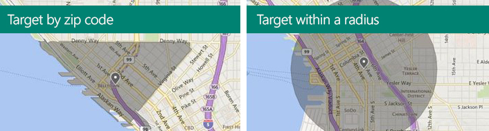 Illustration of Location Extensions in a search ad and how they link directly to Bing Maps or Yahoo Maps.