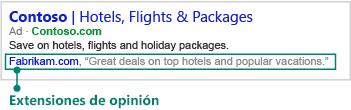 Extensión de reseña mostrada bajo un anuncio en buscadores.