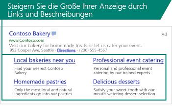 Screenshot mit Sitelinks-Erweiterungen unter einer Suchanzeige.