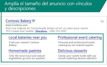 Captura de pantalla de Extensiones de vínculo de sitio mostrada bajo un anuncio en buscadores.