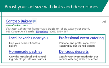 Screenshot of Sitelink Extensions displayed in a search ad.