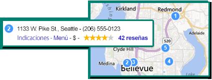 Ilustración de una lista empresarial mostrada con la ubicación correspondiente en el mapa.