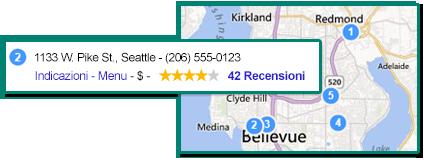 Illustrazione di un elenco di aziende con la rispettiva ubicazione su una mappa.